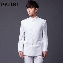 PYJTRL marka mężczyzna mody dwuczęściowe kombinezony slim fit klasyczny biały czarny szary granatowy chiński strój tunika ślub smoking pana młodego