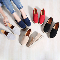 2019 New Spring Red Platform Flats Women Slip On Wedges Round Toe Solid Creepers Ladies Casual Flat Shoes XWD7252