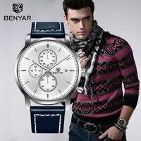 BENYAR мужские часы 2019 Модный Топ бренд золотой Deluxe кварцевые часы наручные, спортивные, военные хронограф для мужчин Relogio Masculino
