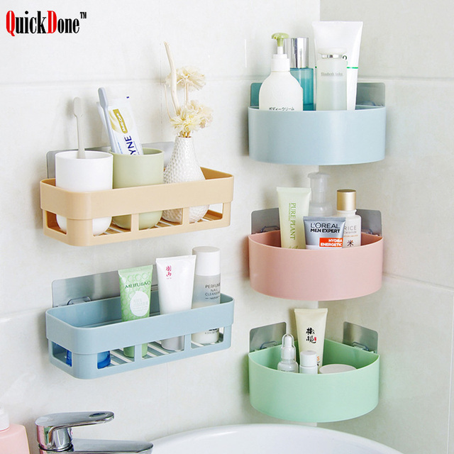 Quickdone 1pc Plastic Bathroom Shelf Storage Rack Wall Shelves Kitchen Holder Remote Control Holders Bathrooms Accessory