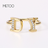 METOO 7 mm Etsy Luxury Letter Ring Personalized Your Initial Letter Ring Zirconia Micro Pave Rings for Women Kids Open Ring R12