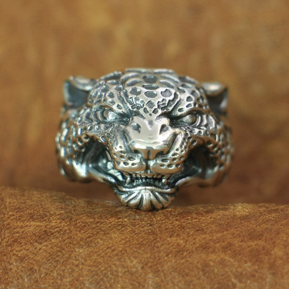 LINSION Leopard Panther Ring 925 Sterling Silver Details Mens Biker Ring TA151