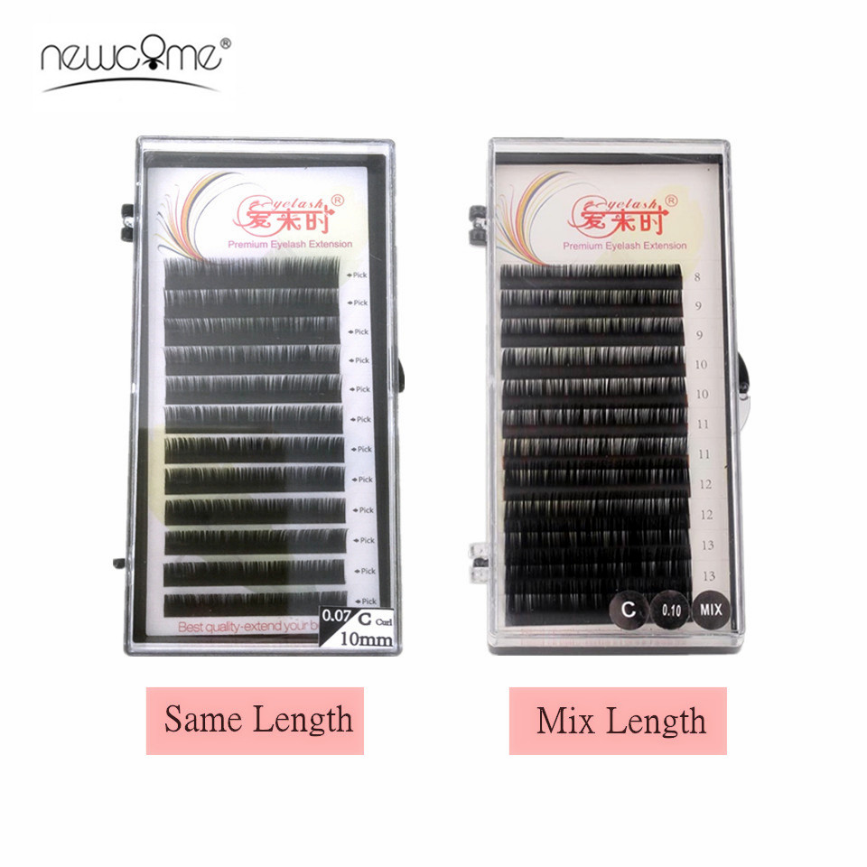 NEWCOME All Size False Mink Eyelash Extension Mix 8-15mm Soft Silk Lash Extension Individual Eyelashes Faux Cilios
