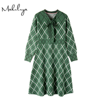 Makuluya High Quality Women Green Plaid Lattices Bow Knitted Dresses Female Long Sleeved Spring Autumn Winter