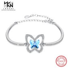 Elegant Double Butterfly Blue Crystals From Swarovski Bracelet For Women 925 Sterling Silver Bangle Engagement Fine Jewlery Gift