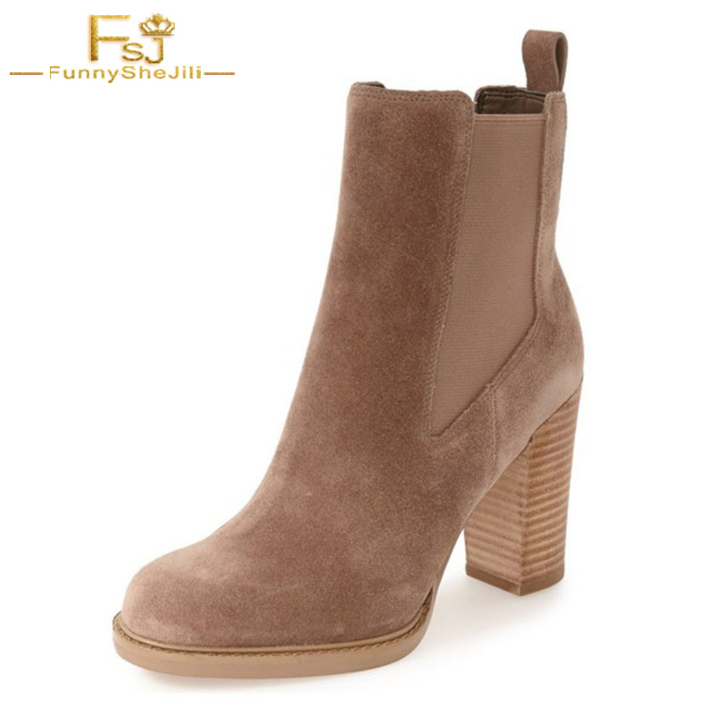8b9f5500f86 Brown Black Chelsea Boots Commuting Suede Wooden Chunky Tan Heel Ankle  Boots Potint Toe Women Shoes Spring 2018 Big Size 11 FSJ