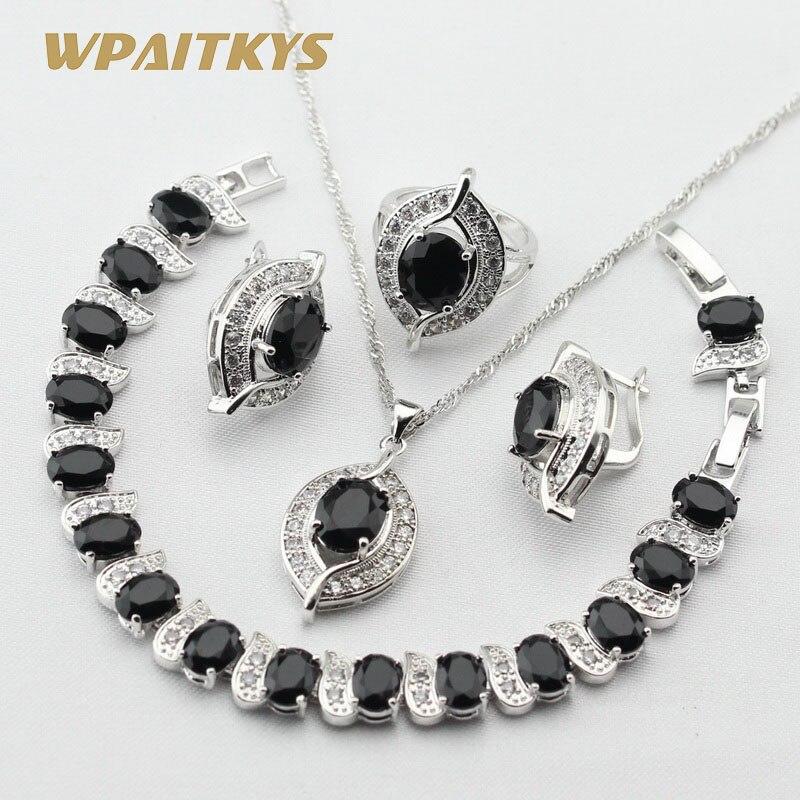 Black Stones White CZ Silver Color Jewelry Sets For Women Earrings Bracelet Rings Necklace Pendant Free Gift Box orange morganite stylish jewelry set for women white zircon gold color rings earrings necklace pendant bracelets