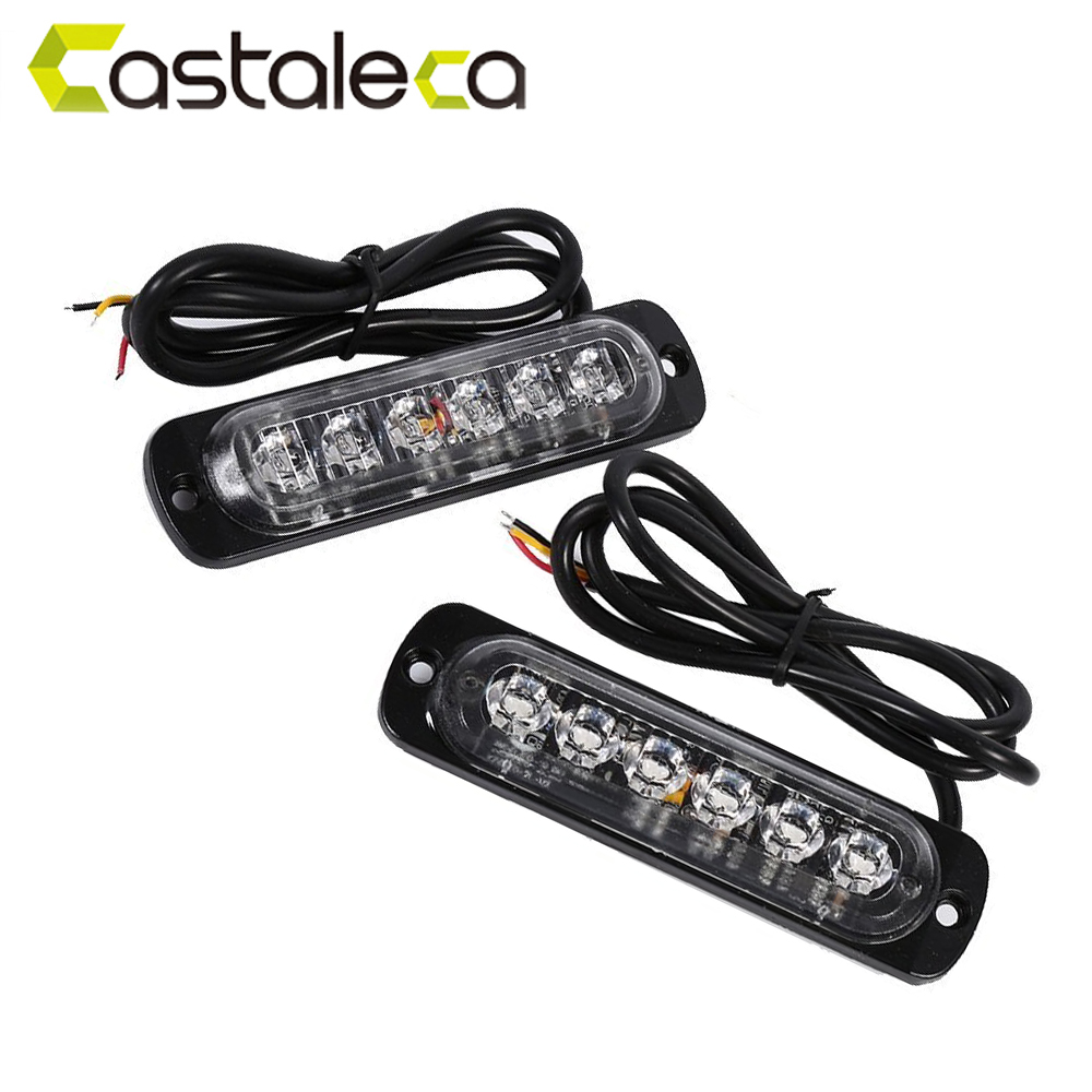 castaleca 6led flashing warning police lights LED strobe light fender marker fog lamp for car truck van trailer 12V 24V 18 modes tg wg01 truck led red and blue flashing warning lights strobe light fog lights taillights
