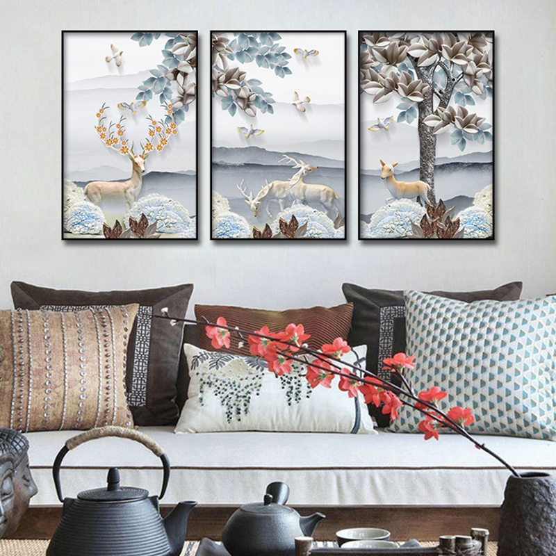 Nordic Poster Animal Print Elk In The Snow Canvas Painting Prints Living Room Home Decor Modern Wall Art Oil Painting Posters HD in Painting Calligraphy from Home Garden