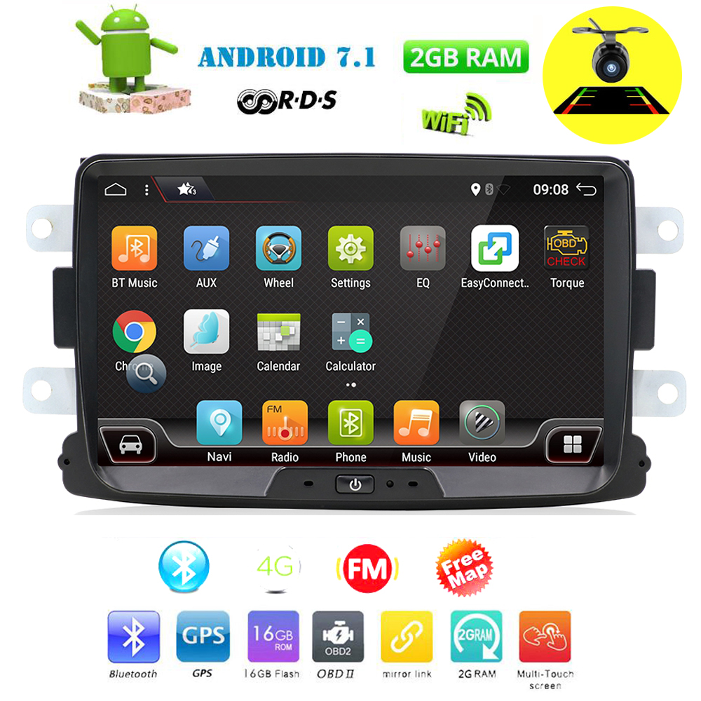 Bosion Car Multimedia player Android 7.1.1 Autoradio 2 Din For Dacia/Sandero/Duster/Renault/Captur/Lada/Xray 2/Logan 2 USB DAB