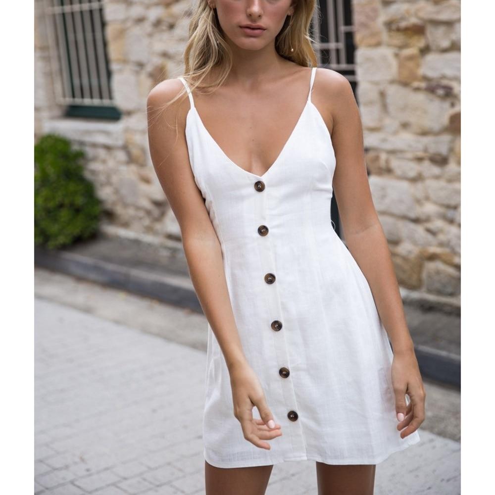 Ladies Summer Slip Sun Dress Pure color sexy strap V-neck back strap tied single-breaste ...