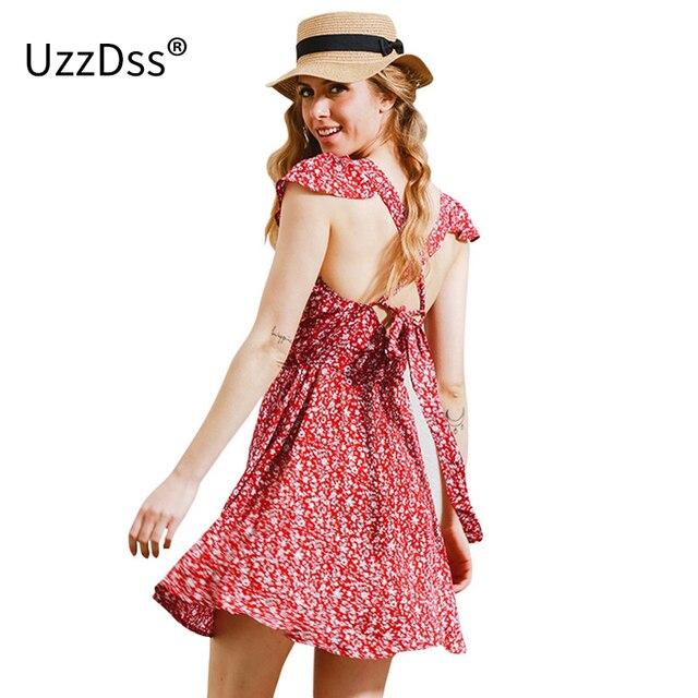 UZZDSS Backless azul marino estampado floral corto vestido de Mujer ...