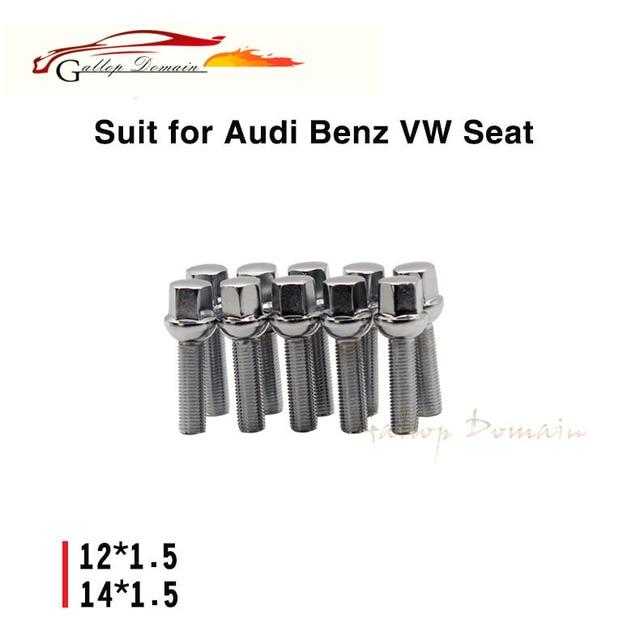 10PCS 35mm lengthen strengthen M14x1.5 WHEEL SCREWS ALLOY BOLTS FLAT SEAT SUIT FOR AUDI BENZ VW SEAT Car-Styling