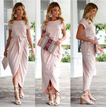 2019 Summer Maxi Dress Women Short Sleeve O-neck Sexy Long Dresses Open Slit Sundress Boho Solid color  Vestidoes With Belt