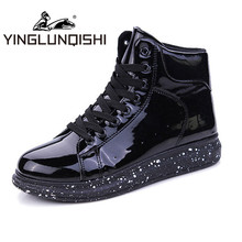 YINGLUNQISHI 2016 Winter Men's High Top Shoes Glossy PU Leather Casual Lace- Up Ankle Boots Shoes sapatos de homem Fashion Men
