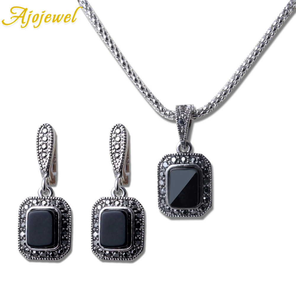 Ajojewel Semi-precious Stone Square Cameo Full Of Black Rhinestone Small And Exquisite Earring Necklace 2 Pieces Jewelry Set