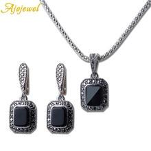 Ajojewel Square Semi-precious Stone Black Jewelry Sets Exquisite Earring Necklace High Quality 2 Pcs Set Woman