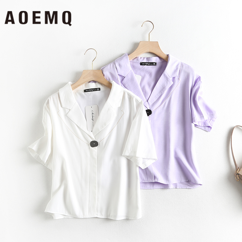 AOEMQ Fashion Shirts Summer Hot Sell Solid Suit Collar Solid Shirts Women Tops Student Graduation Ceremony Tops Blouse Clothing(China)