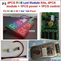 3 мм светодиодный модуль комплекты, 4 шт. модуль + 1 мощность + 1 контроллер + кабель питания + кабели для передачи данных