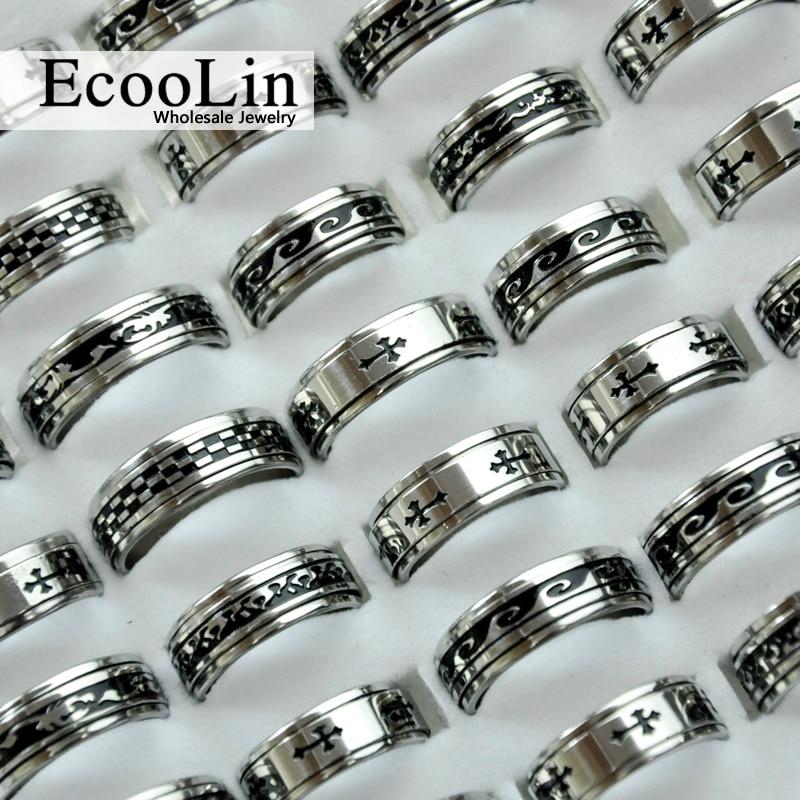 100Pcs Hot Sale Retro Style Punk Bump Cross Stainless Steel Rings For Women Men Fashion WholeSale Jewelry Bulks Lots LR4011