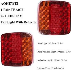 Image 2 - 1 Pair AOHEWEI 12v 26 leds trailer light high brightness License Plate Trailer light  Truck lamp Tail  Light  number plate light