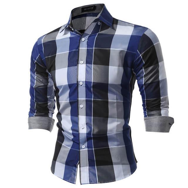 Camisas dos homens Fit Mens Vestido Camisas Xadrez Roupas Masculinas  Chemise Homme Camisa Social Ocasional Dos 8b26a65f5dd