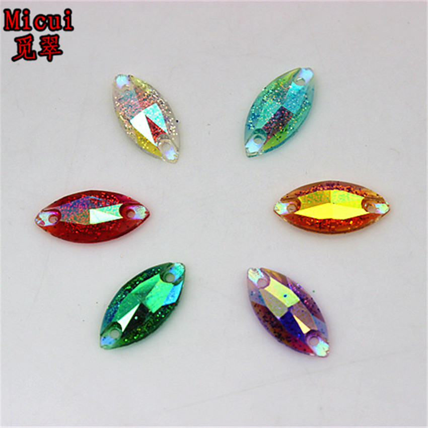 Micui 100pcs 7*15mm AB Horse Eye Marquise Sew On Rhinestone Flatback Crystal stone Resin Rhinestones For Dress Crafts ZZ153