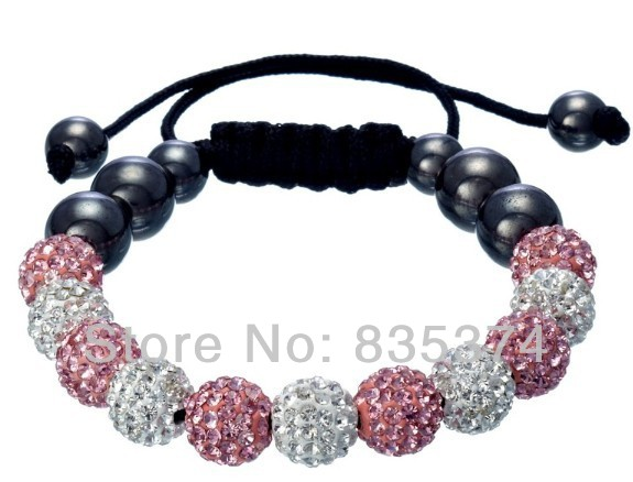 Shambhala jewelry Wholesale New Crystal Clay Shambhala Bracelets Micro Pave CZ Disco Ball Bead white and pink