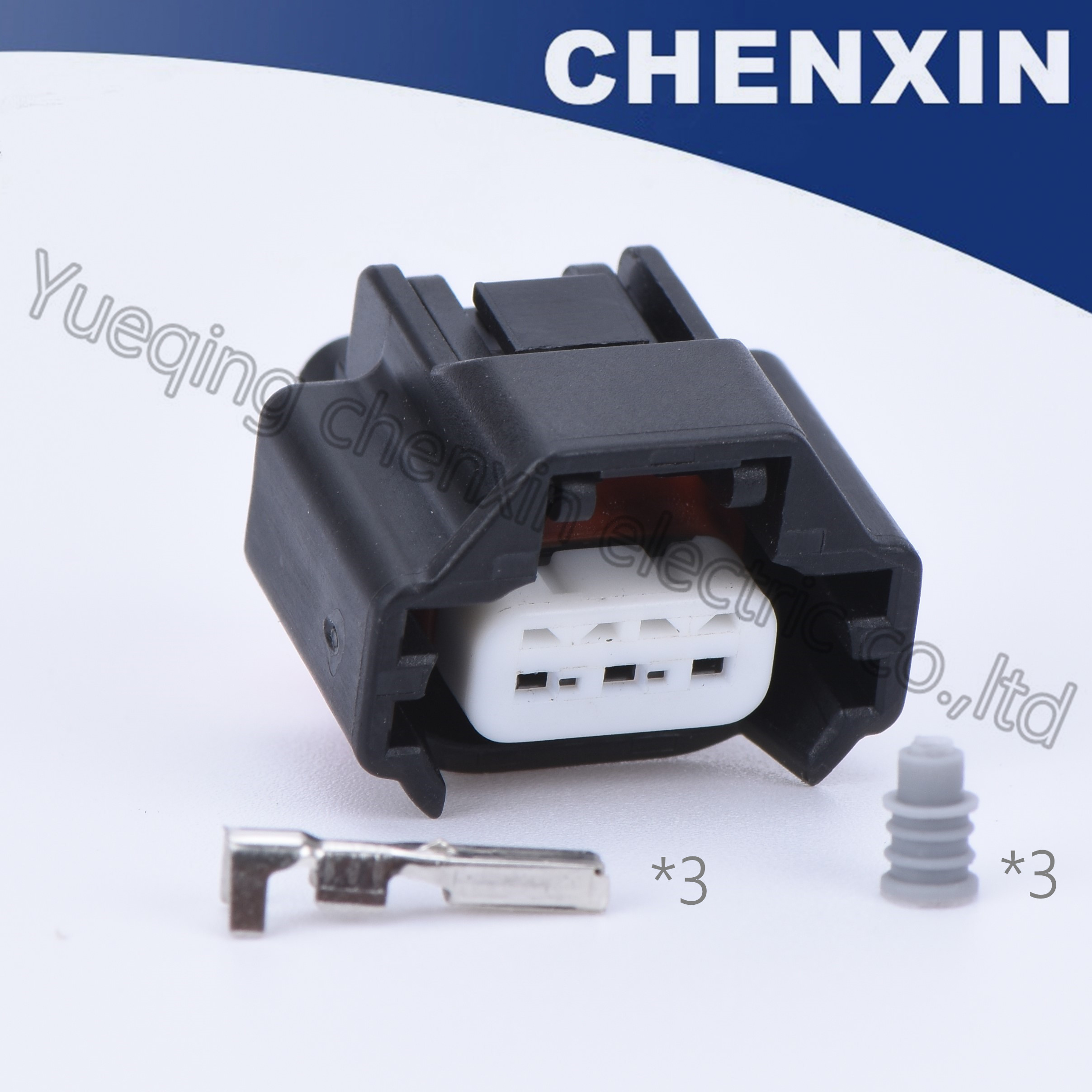 Black 3 Pin Car Waterproof Auto Connectors Female 1 2