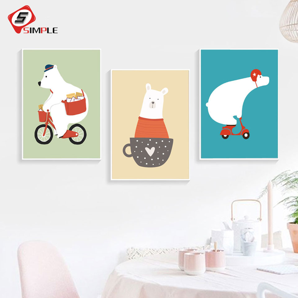 Cartoon Toy Bikers Posters Canvas Painting For Kids Room Wall Pictures Nordic Scandinavian Modern Art Home Decoration Unframed