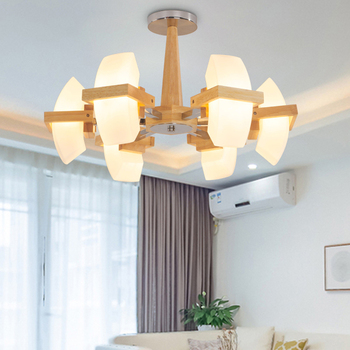 Luces colgantes de madera estilo japonés lámpara de sala de estar dormitorio led versión china de la lámpara de madera nórdica LU825455