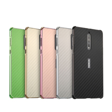 Nokia8 Case Luxury Aluminum Metal Frame Bumper For Nokia 8 Carbon Fiber Back Cover for Phone 5.3