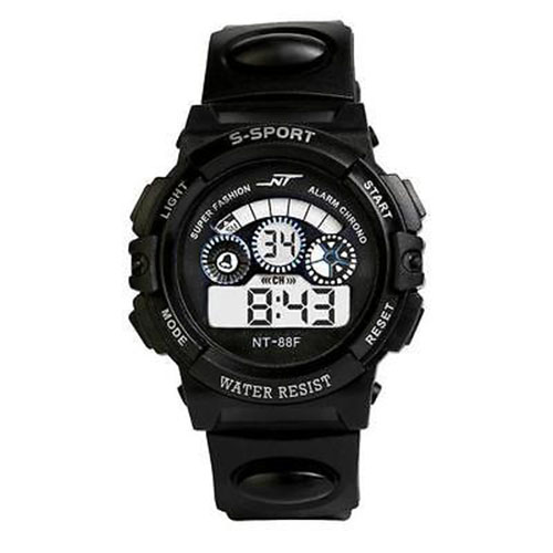 NT Waterproof Children Boy Watch Digital LED Quartz Alarm Date Sports Wrist WatchColour:Black