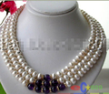 3ROW 11MM WHITE FRESHWATER CULTURED PEARL AMETHYST NECKLACE p739 ^^^@^Noble style Natural Fine jewe FREE SHIPPING