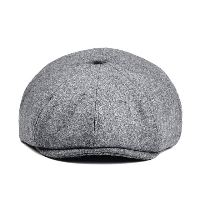 49c11ac81 US $10.39 48% OFF|VOBOOM Tweed Woolen Newsboy Cap Women Men 8 Panel Country  Baker Boy Ivy Flat Cap Light Gray Beret Hats Driver Golf Boina 111-in ...