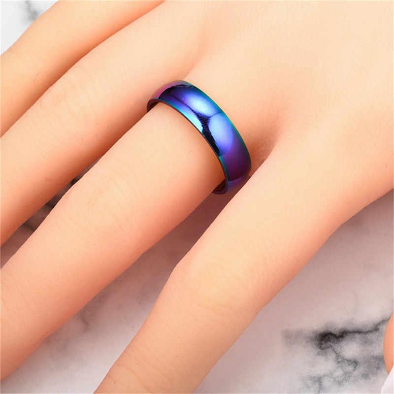 6 MM Regenboog Kleurrijke Ring Voor Vrouwen Mannen Titanium Wedding Band Ring Minnaar Paar Ringen Neutrale Mode-sieraden Gift