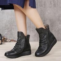 2019 женские ботинки из натуральной кожи на платформе удобная женская обувь ручной работы в винтажном стиле