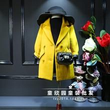 Дети 2016 зимние пальто девушки супер большой бренд детской одежды костюм воротник в долгосрочной версии шерстяное пальто