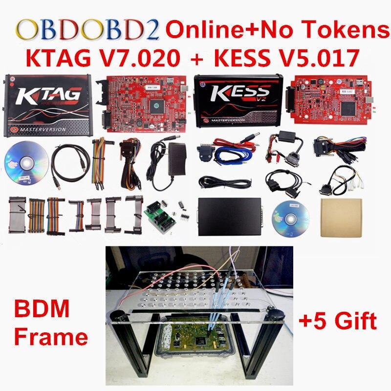 EU Red PCB KESS 5.017 K-tag KTAG V7.020 OBD2 Manager Tuning Kit Online Master+BDM Frame KESS V2 V5.017 ECU Programmer No Tokens цена 2017