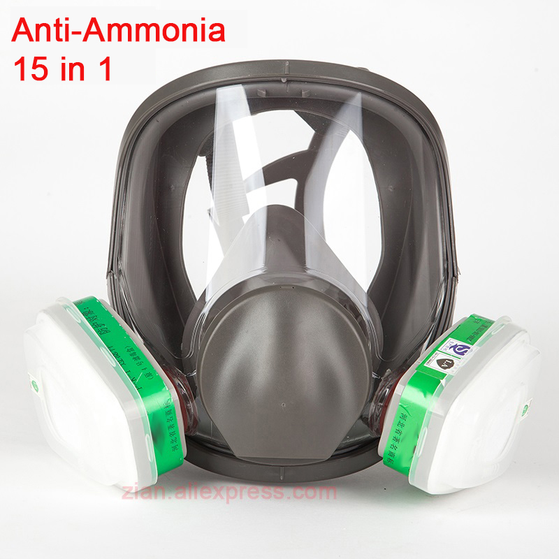 15 In 1 Gas Mask Ammonia Filter Painting Chemical 6800 Full Face Laboratory Medical Safety Mask Respirator With 6004 Filters