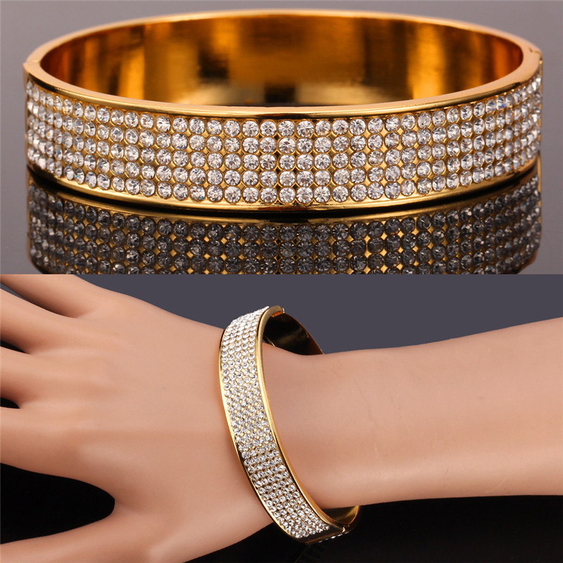 New Gorgeous 400 PCS High Quality Austrian Rhinestone Bracelet & Bangle Gold Color Big Bangles Jewelry For Women MGC H5110KNew Gorgeous 400 PCS High Quality Austrian Rhinestone Bracelet & Bangle Gold Color Big Bangles Jewelry For Women MGC H5110K
