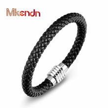 MKENDN Black Braid Genuine Leather Bracelet Bangle Stainless Steel Magnet Buckle LGBT Dublin Pride Party Jewelry(China)