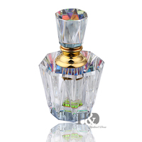 3ML Clear Vintage Octagonal Aurora Borealis K9 Crystal Refillable Woman Perfume Bottle Empty Container W Gold