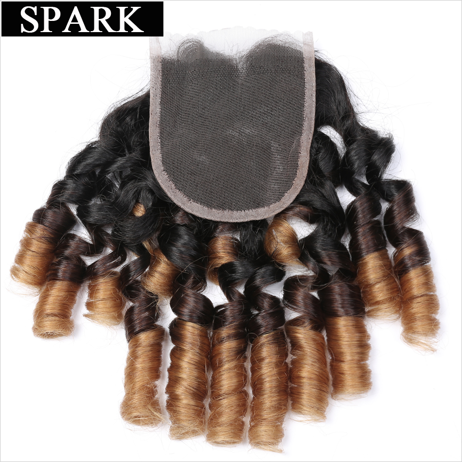 Spark Ombre Brazilian Bouncy Curly Hair Lace Closure 10-22 Free Part 1B/4/27 Three Tone Remy Human Hair Closure Free Shipping