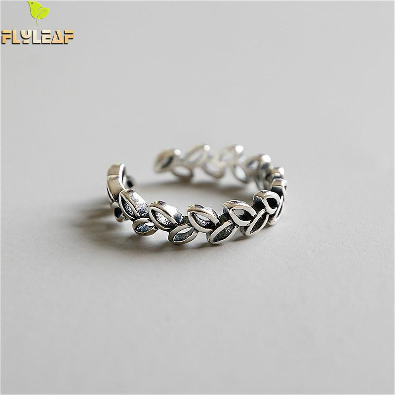 Flyleaf 925 Sterling Silver Rings For Women Leaves Leaf Femme Fashion Fine Jewelry Simple Open Ring Vintage High Quality