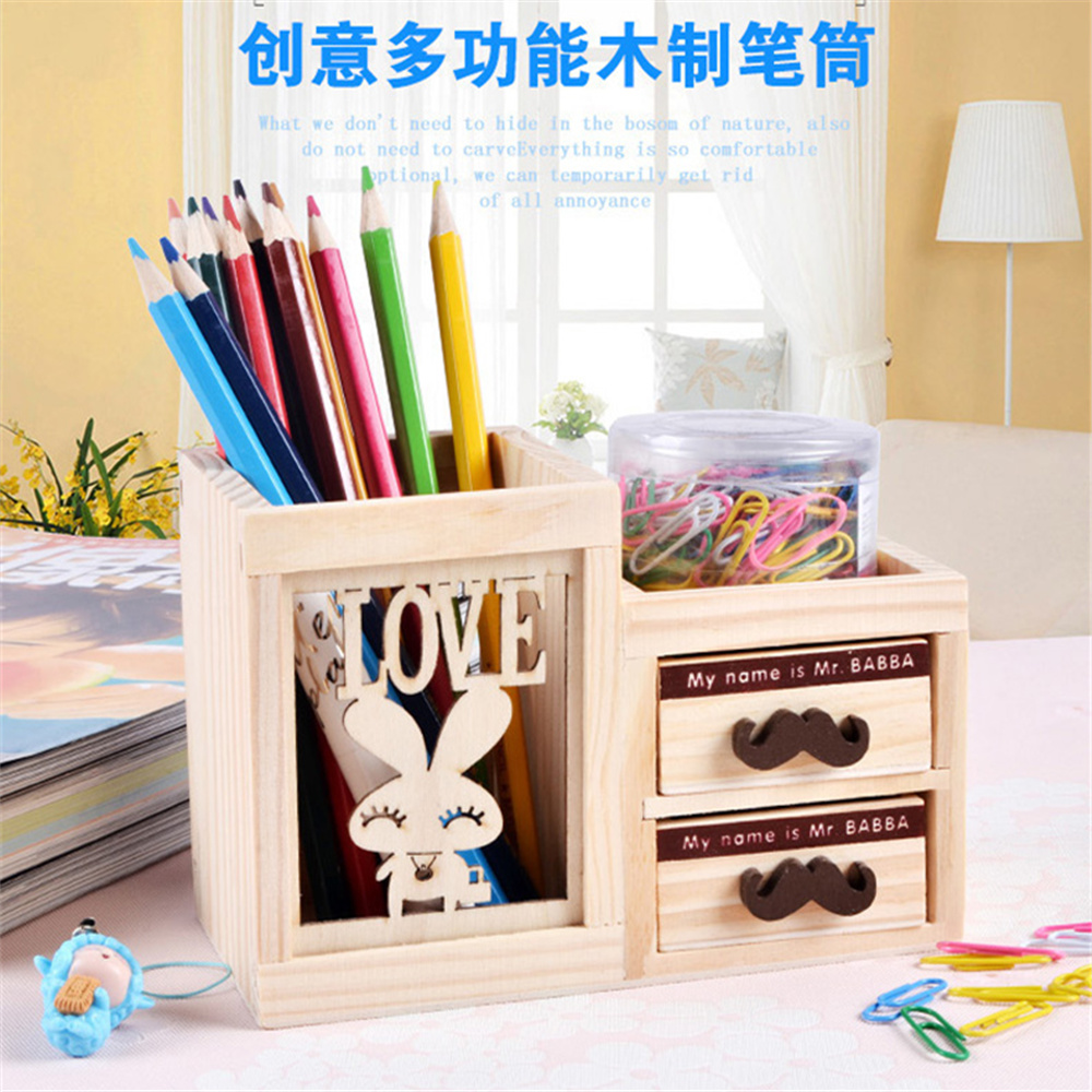 Wooden Pen Holder with Two Drawer Kawaii Desk Tidy Pencil Holder Carton Desktop Pen Pot Creative Office Accessories 9 grids metal mesh desk organizer with drawer colorful student home office new supplies desktop stationiery holder