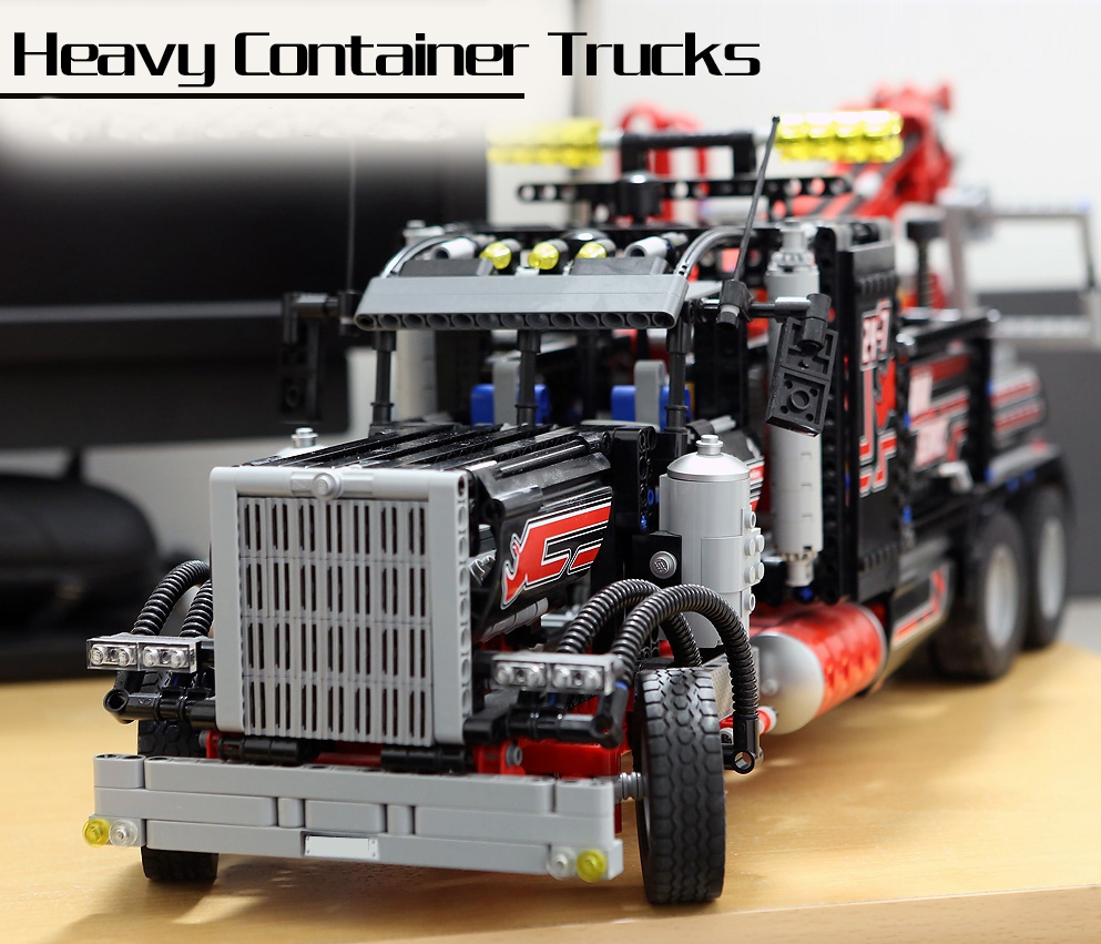 Lepin 20020 Technic Ultimate Series The American Heavy Container Trucks 1877pcs Building Blocks Bricks Compatible with 8285 Toys lepin 20035 new 631pcs technic series the container trucks and loaders set building blocks bricks educational toys with 42062