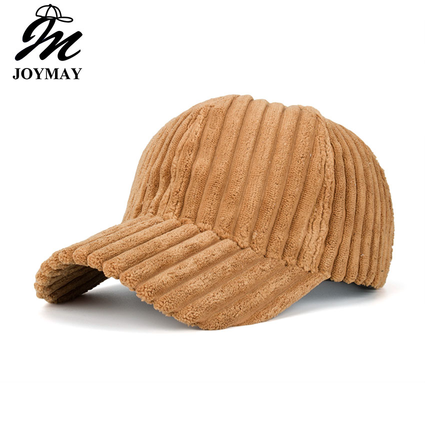 Joymay 2017 New Unisex Couple Solid Color Corduroy Winter Warm Baseball cap Adjustable Fashion Leisure Casual Snapback HAT B466 unisex winter plicate baggy beanie knit crochet ski hat oversized cap hat warm light gray
