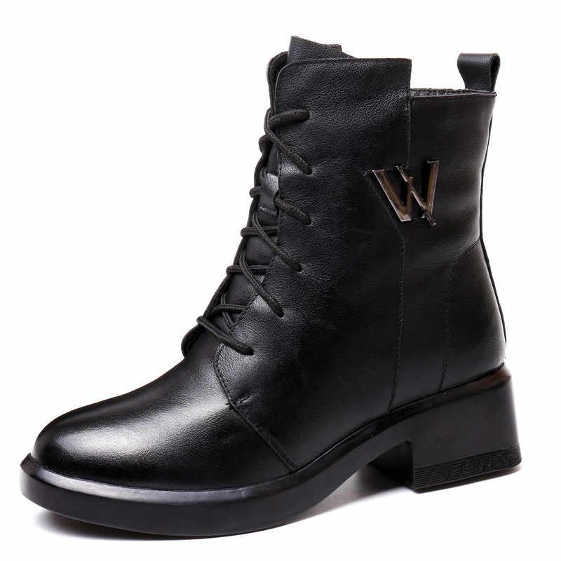 MORAZORA 2020 ใหม่แฟชั่นรองเท้าบู๊ทหิมะของแท้หนัง Lace Up ซิปส้นแพลตฟอร์มรองเท้าผู้หญิงฤดูหนาวรองเท้า