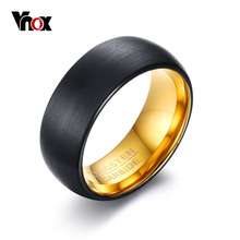 VNOX 8mm Black Tungsten Rings for Men Wedding Jewelry Engraved TUNGSTEN CARBIDE